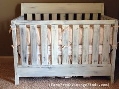 Crib in Miss Mustard Seeds Linen Milk Paint - Farm Fresh Vintage Finds