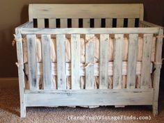 Crib in Miss Mustard Seeds Linen Milk Paint - Farm Fresh Vintage Finds