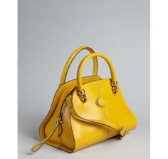 Tod's goldenrod leather small convertible satchel