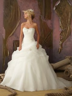Ball Gown Sweetheart Organza Sweep Train Beading Wedding Dresses Shop uk