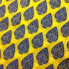 Indian Fabric  Yellow and Blue  Chanderi Silk by DesiFabrics, $15.00