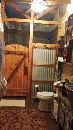 # For # could 54 Easy Rustic Bathroom Design Ideas you Might Build for Your Home - # . 54 simple rustic bathroom design ideas, that you could build for your home - Western Bathrooms, Cabin Bathrooms, Primitive Bathrooms, Country Bathrooms, Rustic Bathroom Designs, Rustic Bathroom Decor, Rustic Decor, Rustic House Design, Farmhouse Decor
