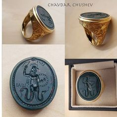 """A heliotrope intaglio ring by Chavdar Chushev. Based on """"magical gems"""" depicting Abraxas (Abrasax) who was supposed to help the owner and bring good luck and success in all ventures.  #ouroboros #intaglio #gem #intagliogem #bloodstone #heliotrope #gemcarving #seal #sigillo #cameo #ring #lapidary  #jewelry #jewellery #showmeyourrings #ancientromanart #glyptic #lovegold #antiquering #ancientring #ancientjewelry #handcrafted #глиптика #talisman #abrasax #abraxas #magicgems #charm #amulet…"""