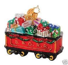 Christopher Radko Giftful Tender B Railroad Collection Christmas Train, Christmas Candy, All Things Christmas, White Christmas, Christmas Holidays, Merry Christmas, Radko Christmas Ornaments, Christmas Tree Decorations, Train Ornament