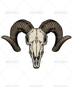 Goat Skull Vector — JPG Image #tattoo #vintage • Available here → https://graphicriver.net/item/goat-skull-vector/5293559?ref=pxcr