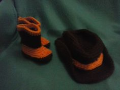 Infant Cowboy Hat and Boots Photo Prop by BabblingHook on Etsy