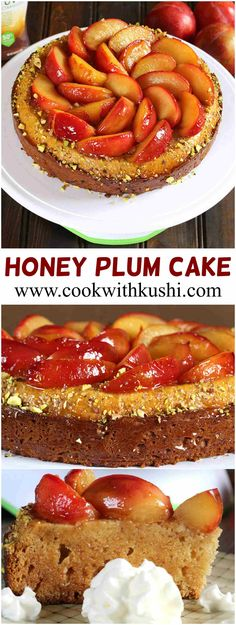 Nectar Plum Cake is a classic cake with soft and moist texture, served with caramelized fruit topping that is perfect for holidays, parties or anytime of the year. This cake is also popularly known as honey plum cake. #truvia #feedfeed #nectar #honey #cake #fall #holiday #winter #thanksgiving #dessert #fruit #Christmas #recipe