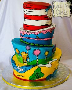 Dr. Seuss Cake by Sweet Pea Cakes in Texas. Great way to incorporate all the characters. #topsyturvy