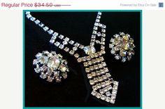 CIJ Vintage Rhinestone Necklace Earring Set by BrightgemsTreasures, $24.15