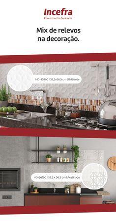 Cozinha é o coração da casa. Então, que tal levar mais personalidade para ela com um mix de revestimentos?  #GrupoFragnani #Incefra #revestimentoscerâmicos #inspiração #decoração #design #designdeinteriores #revestimentos #cozinha #kitchen #relevos #estampas