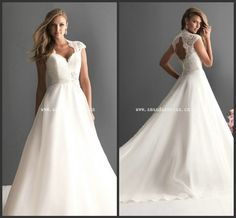 2013 New Cap Sleeve Organza With Lace Back Key Hole Wedding Dress Plus size L25