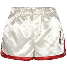 Tommy Hilfiger Satin Shorts With Appliqué (445 TND) ❤ liked on Polyvore featuring shorts, bottoms, pants, short, white, satin shorts, white short shorts, tommy hilfiger, short shorts and white shorts