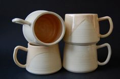 Mugs by Mia Schachter for Paperclip Pottery www.paperclippottery.com #paperclippottery @miaroseschachter