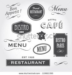 set of french vintage ornaments badges banners labels signs bistro cafe restaurant with french font type French Font, French Cafe, French Bistro, French Vintage, French Bakery, French Kitchen, Restaurant Vintage, Logo Restaurant, Vintage Bakery