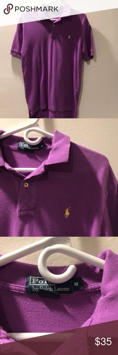Ralph Lauren Purple Polo Purple with yellow polo. Been worn but in great condition and no visible signs of wear.  100% cotton Polo by Ralph Lauren Shirts Polos