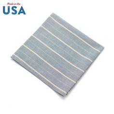 General Knot & Co Dusty Blue Stripe Pocket Square