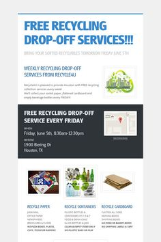 Help spread the word about FREE RECYCLING DROP-OFF SERVICES!!!. Please share! :)