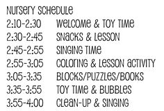 LDS Nursery Schedule   Strong Armor: Nursery - Schedule