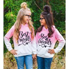 Hstore Little Girls Hoodie Toddler Kids Baby Best Friends Sweatshirt Pullover Tops Friends Sweatshirt, Bff Shirts, Kids Shirts, Vinyl Shirts, Best Friend Outfits, Best Friend Shirts, Girls Best Friend, Kids Girls Tops, Teen Kids