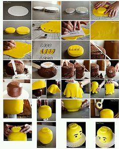 Lego Head cake how to.: Lego Head cake how to. Lego Head Cake, Lego Cake Pops, Cake Cookies, Cupcake Cakes, Bolo Lego, Cupcakes Decorados, Lego Birthday Party, Birthday Ideas, Birthday Cake