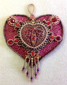 Heart of Gold (bead embroidered ornament kit in red and gold)