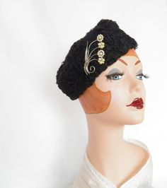 1960s lambswool hat, vintage black fur tilt with pin by TheVintageHatShop on Etsy