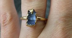 Raw Natural Tanzanite Crystal Gold Ring Rough Uncut by byAngeline