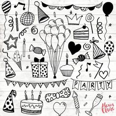 Party Clipart - 30 Hand Drawn Party Invite Cliparts - Logo Art - Party Invitation Elements - Balloons Illustration - 76 - Get some adorable hand drawn birthday party clipart clipart, perfect for logos, invitations, birthd -Birthday Party Clipart - 30 H. Birthday Party Clipart, Diy Birthday, Birthday Balloons, Happy Birthday Cards, Card Birthday, Birthday Greetings, Birthday Ideas, Clipart Party, Happy Birthday Doodles