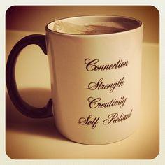 My partner got me a tea mug with my #coredesiredfeelings on it for Solstice. #desiremap @daniellelaporte