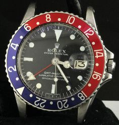 Rolex GMT Master 1675 vintage 1970 SS automatic men's watch w/ Pepsi bezel