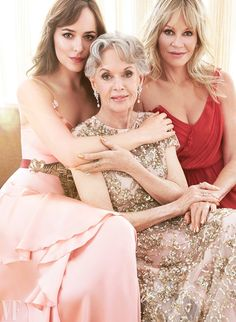 Tippi Hedren, flanked by her granddaughter Dakota Johnson and daughter, Melanie Griffith, at the Chateau Marmont, in Los Angeles. Photograph by Coliena Rentmeester.