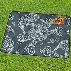InterestPrint Flower Sugar Skull Dia De Los Muertos Mandala Picnic Camping Beach Blanket Mat 60 x 78 Inches Park Outdoor Traveling Hiking Foldable Blanket Mat Fit up to 3 People *** Click image for more details.(This is an Amazon affiliate link)
