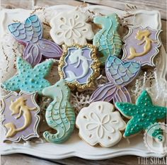 """The Sugar Jar on Instagram: """"Mermaid cookies with a touch of gold mermaid tails inspired by the amazing @thepinkmixingbowl #decoratedsugarcookies #sugarcookies #cookies #mermaid #mermaidcookies #underthesea #undertheseaparty #mermaidparty #customcookies #thesugarjar"""""""