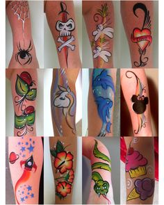 Arm facepainting designs by LouLou – Body Painting Tattoo Girls, Girl Tattoos, Tattoos For Women, Face Painting Tutorials, Face Painting Designs, Tattoo Magazin, Hand Tattoo, Tattoo Arm, Yakuza Tattoo