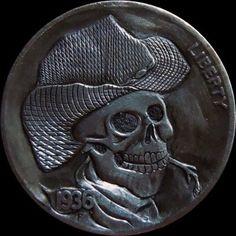 ☆ Hobo Nickel © 2013 by mrthe ☆ Hobo Nickel, Coin Art, Bullion Coins, Skull And Bones, Silver Coins, Three Dimensional, Carving, Buffalo, Legal Tender