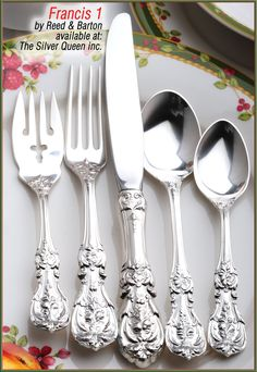 close ups of sterling silver patterns flatware | Francis I sterling silver flatware by Reed and Barton