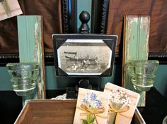 Repurposed Vintage Glass Insulator Candle Sconce Set/Wedding