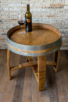 Golden Oak Wine Barrel Side Table with Cross Braces