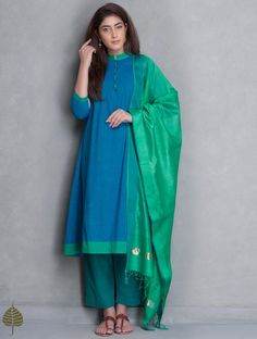 Blue-Green Pleated Mangalgiri Kurta by Jaypore Kurta Designs, Blouse Designs, Indian Attire, Indian Ethnic Wear, Indian Dresses, Indian Outfits, Indian Clothes, Ethnic Fashion, Indian Fashion