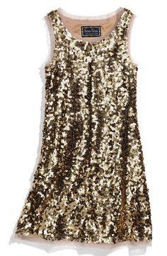 Sara Sara Sleeveless Sequin Dress (Big Girls) available at Pretty Dresses, Beautiful Dresses, Danse Salsa, Look Fashion, Womens Fashion, Sequin Dress, Nye Dress, Glitter Dress, Gold Dress