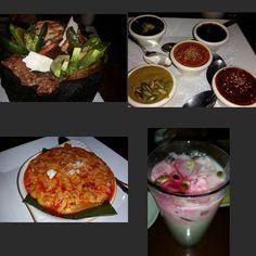 #oaxaca cuisine  #molcajete with the works #avocado #quesofresco #nopales #jalapeno #carneasada #pollo #molesampler #moleoaxaqueño #molepoblano #pipian #manchamanteles #quesofundido with #chorizo #horchata topped with toasted pumpkin seeds and pear syrup #rociosmoledelosdioses #mole for the molecules lol..... #summernights in #sunvalley by @gonzgotti