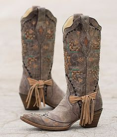 Corral Embroidered Cowboy Boot - love the tied fringe
