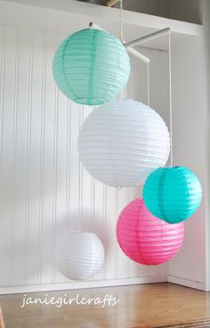 Robin Egg Teal Pink and White Paper Lantern by janiegirlcrafts