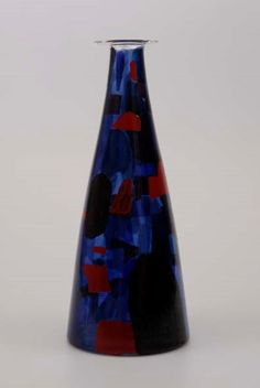 Vladimir Kopecky, glass vase decorated with abstract burned painting, H: 38,5 cm, 1962, Prague, Czechoslovakia /property of Moravian Gallery in Brno - Bruenn/