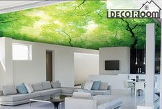 Green Tree Ceiling Wall Paper Wall Print Decal Wall Deco Indoor wall Mural wallpaper