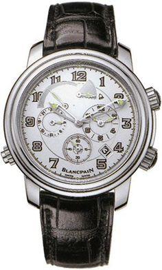 b4052a48312 Blancpain Leman Reveil GMT Mens Black Strap Silver Dial 18K White Gold  Automatic 2nd Time Zone