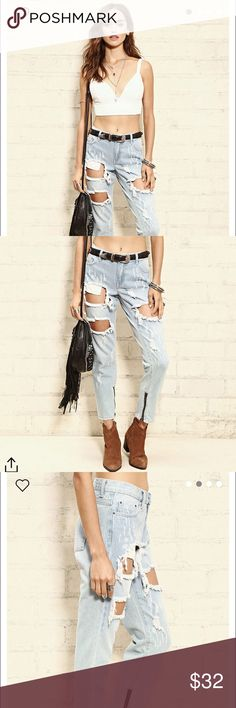 Distressed boyfriend jeans Light denim. Forever 21 distressed, ankle length boyfriend jeans. So cute and a perfect everyday go to! Never worn, new with tags. *Not brandy 💗 Brandy Melville Jeans Boyfriend