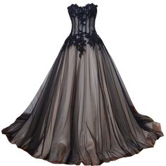 Amazon.com: Kivary Sweetheart Long Black and Champagne Lace Tulle... ($180) ❤ liked on Polyvore featuring dresses, champagne prom dresses, champagne lace dress, gothic prom dresses, corset dress and long dresses