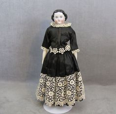 c1860 China Head Doll 16 Inches Nicely Dressed