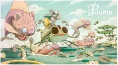 """Feather"", ""Powerbag"" and ""Happyland"". feature TV and movie projects by french / japanese Yapiko Animation studio. Lead artists: Bill, Gobi and Fabien Mense (aka Catfish Deluxe Art And Illustration, Character Illustration, Character Concept, Character Art, Concept Art, Character Design Animation, Character Design References, Inspiration Art, Art Design"
